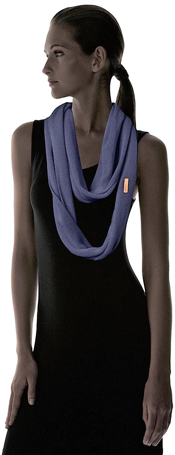 Coal The Julietta Soft Fine Knit Eternity Scarf, Navy