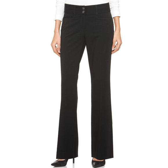 Alfani Women's Straight-leg Two-button Trousers, Black, Size 2