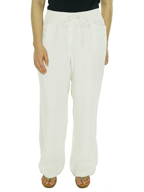 Style & Co. Relaxed Wide-Leg Drawstring Linen Pants, Bright White, Petite Large