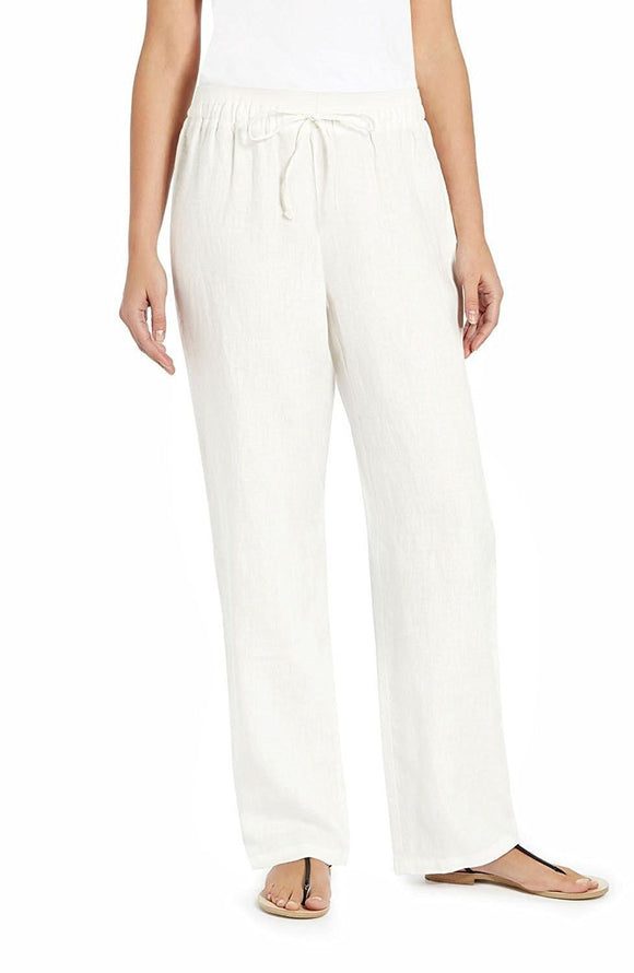 Ellen Tracy Wide-leg Linen Drawstring Pants, Chalk, Large