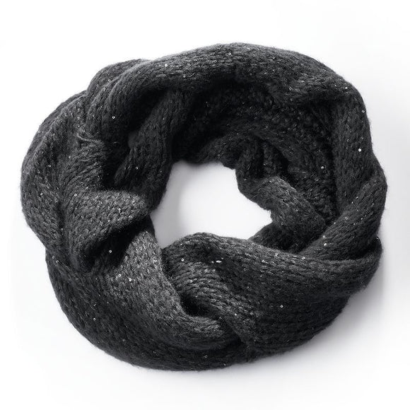 Simply Vera Vera Wang Cable-Knit Sequined Cowl Scarf, Black