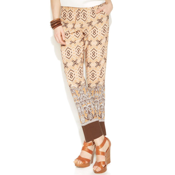 Ellen Tracy Straight-leg Printed Pull-on Pants, Cashew Multi, Medium
