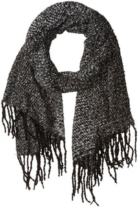 D&Y Women's Multi Colored Boucle Oblong Scarf with Fringe Trim, Grey/Black, One