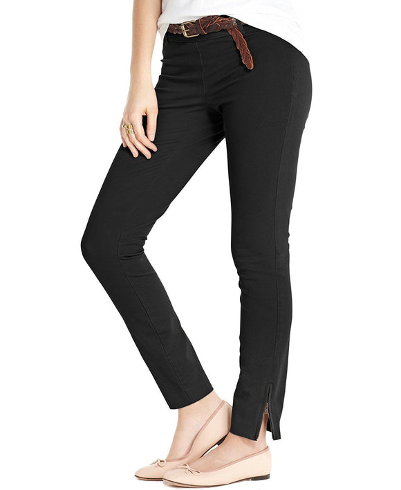 Maison Jules Charlotte Skinny Ankle-zip Pants, Deep Black, Size 10