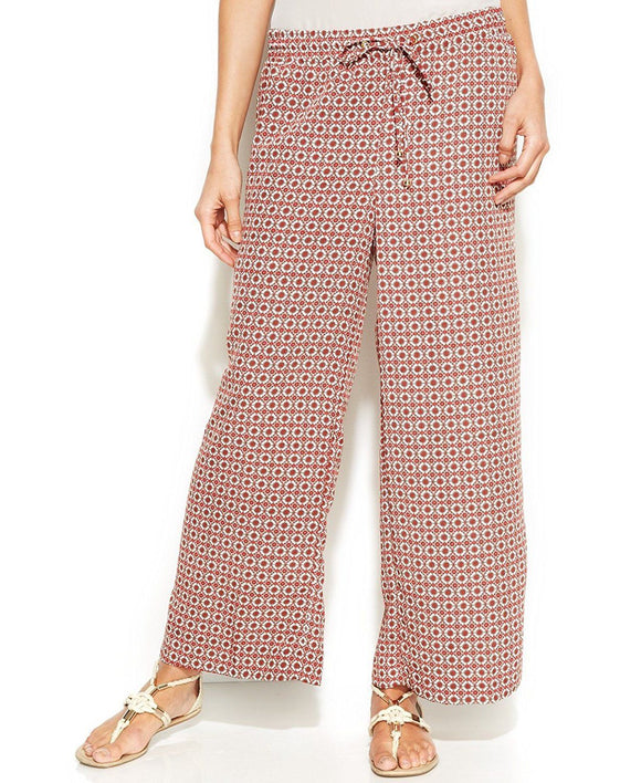 Ellen Tracy Wide-leg Printed Cropped Pants, Rose Combo, Large