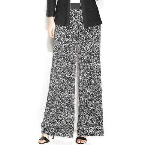 Alfani Petite Printed Palazzo Pants, Animal Print, Black, White, P/M (6P-8P)