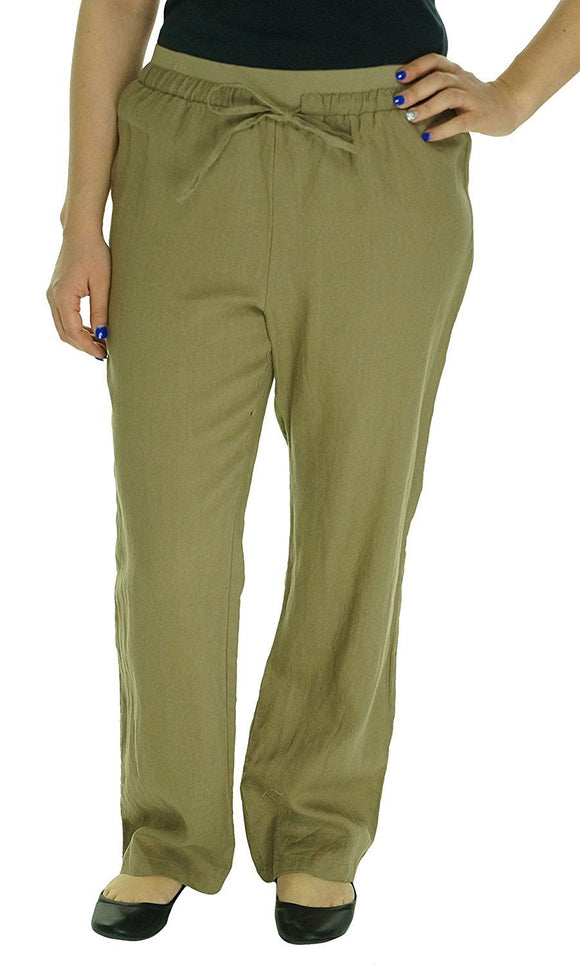 Ellen Tracy Women's Stretch Comfort Waist Pants, Flax, Large