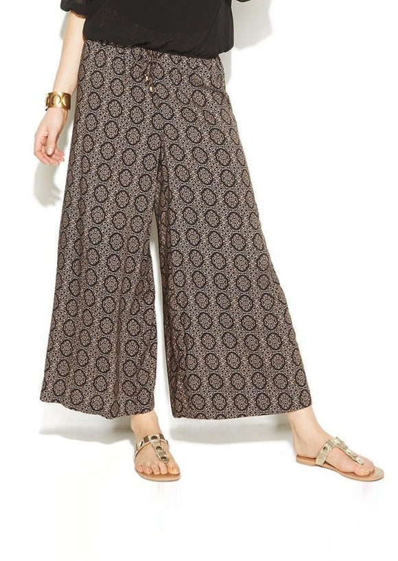 Ellen Tracy Wide-leg Printed Palazzo Pants, Cashew Combo, Medium