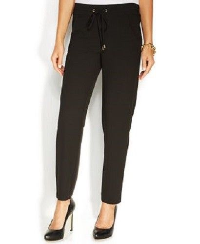 Ellen Tracy Women's Slim-leg Drawstring Pants, Black, Small