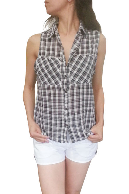 Love Crazy Sleeveless Button-Down in Black Plaid Flannel, Small