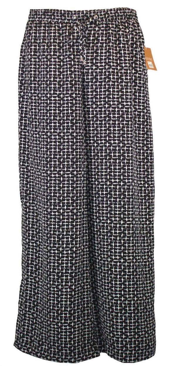 Ellen Tracy Wide-leg Graphic-print Palazzo Pants, Black Combo, Medium