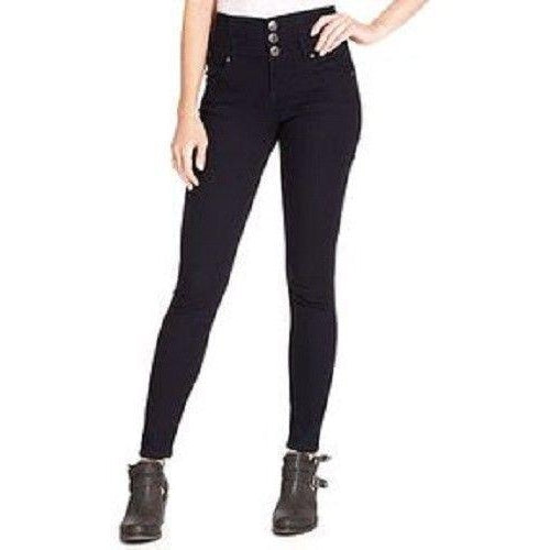 Celebrity Pink Juniors Triple Button High Rise Skinny Jeans, Indigo Rinse, 11