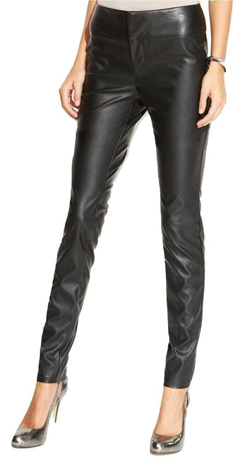 Inc International Concepts Faux-leather Skinny Pants, Deep Black, Size 14 - U.S. Retail Products