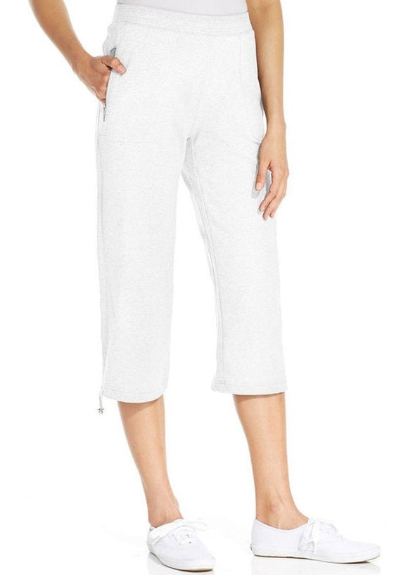 Style & Co. Women's Bungee-hem Capri Sweatpants, Bright White, XL