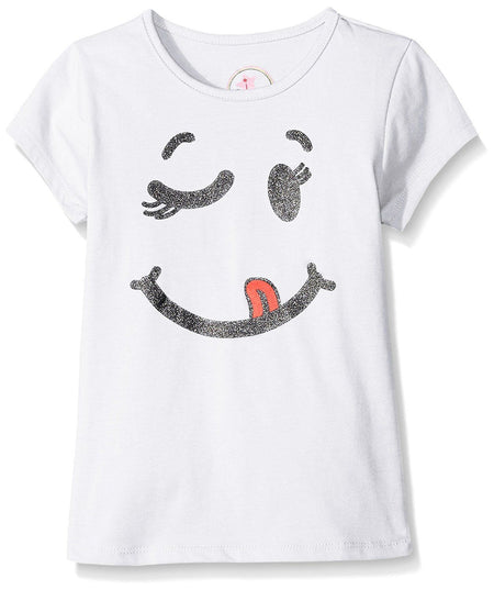 Dream Star Little Girls Smiley Screen Front Tee, White, Large/6 - U.S. Retail Products