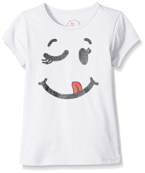 Dream Star Little Girls Smiley Screen Front and # Things to Be Happy about, Whit