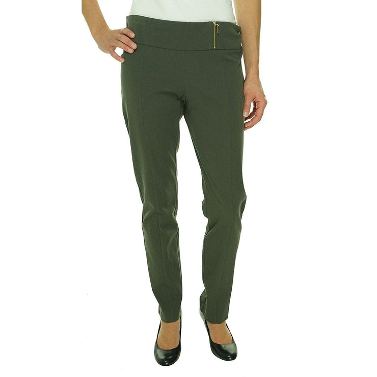 Alfani Women's Pull On Zip Detailing Slim Leg Pants, Urban Olive, Size 8 - U.S. Retail Products