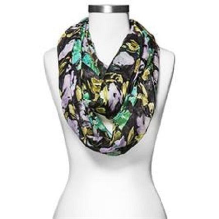 Women's Merona Lilac Black Floral Loop Infinity Scarf, Black - U.S. Retail Products