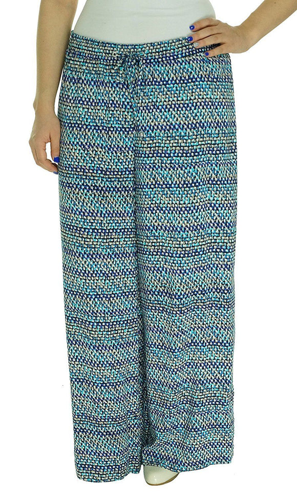 Ellen Tracy Multi Drawstring Wide Leg Pants, E-Navy Multi, Large