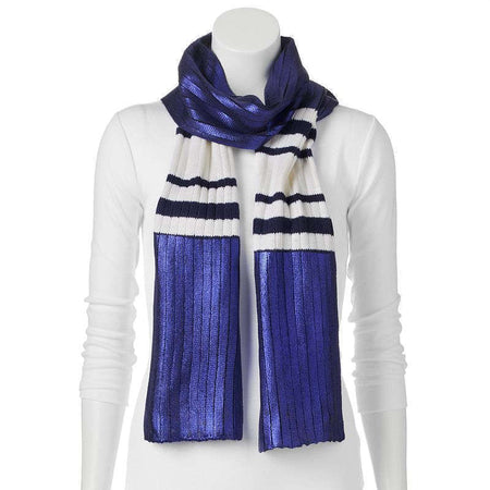 Juicy Couture Metallic Striped Oblong Scarf, Navy Sea - U.S. Retail Products