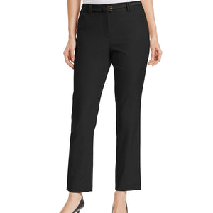 Charter Club Slim-fit Belted Ankle Pants, Deep Black, Size 8