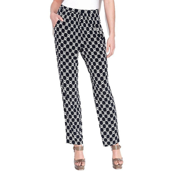 Ellen Tracy Women's Navy Blue Slim Leg Graphic Print Pants, Large