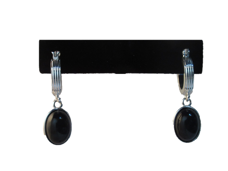 Silver Tone Dangle Drop Black Stone Earrings - U.S. Retail Products