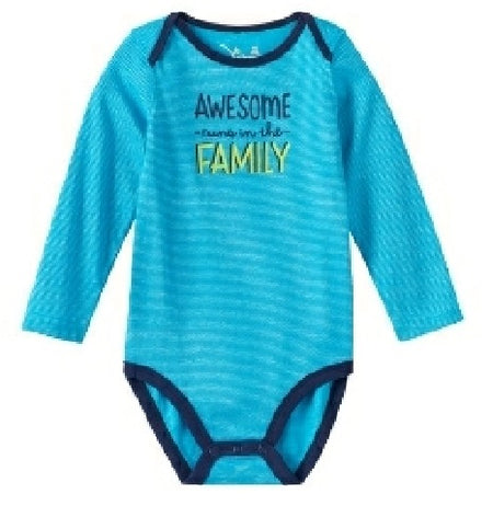 Baby Boy Jumping Beans Family Statements Striped Bodysuit, Blue, 6 Months - U.S. Retail Products