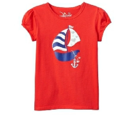 Toddler Girl Jumping Beans Patriotic Glitter Graphic Tee, Red, 4T
