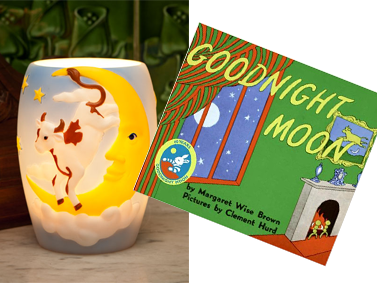 Cow Over Moon Lamp and Good Night Moon Book