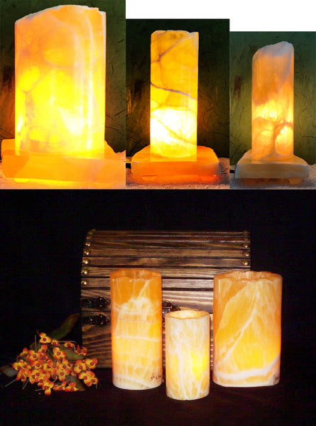 Honeycomb Calcite Medium Lamp
