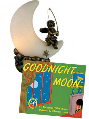 Good Night Moon and Moon Cherub Lamp