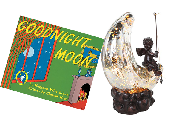 Silver Moon Cherub with Good Night Moon Book