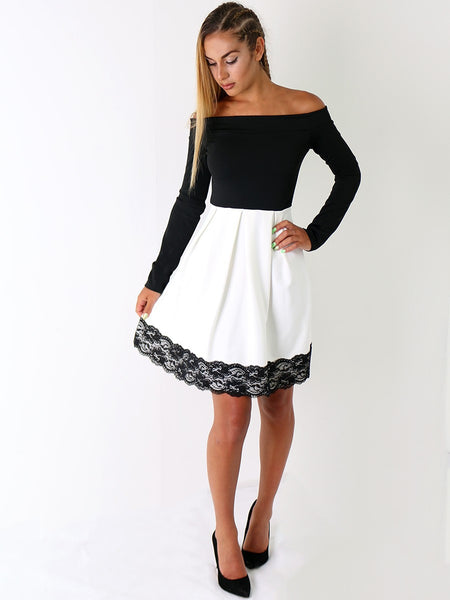 Contrast Bardot Lace Trim Skater Dress