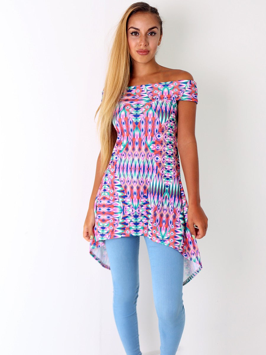 Bright Pink Print Bardot Split Back Top