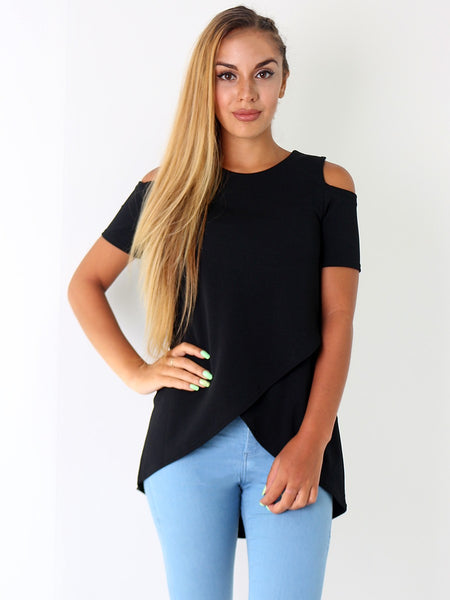 Plain Wrap Cold Shoulder Top