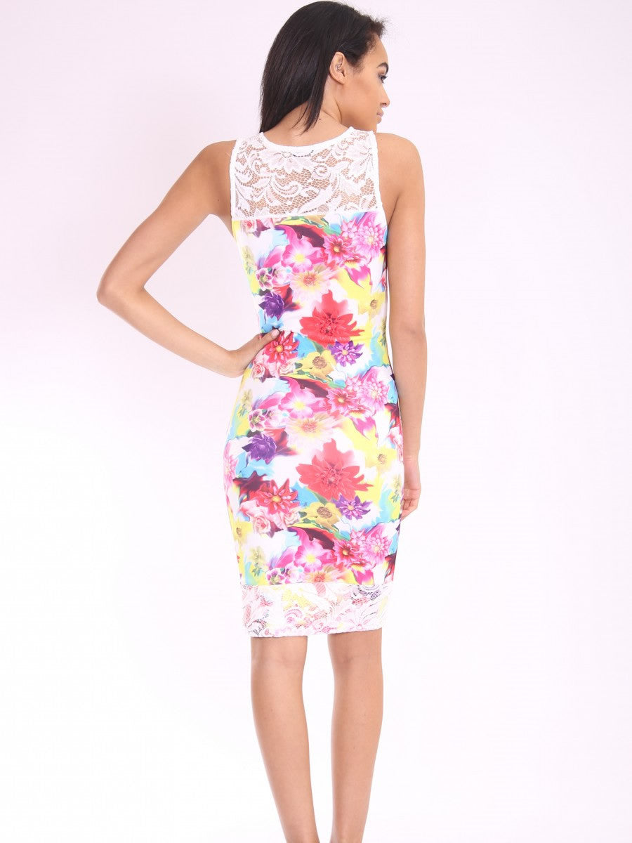 Floral Lace Mesh Insert Bodycon Dress