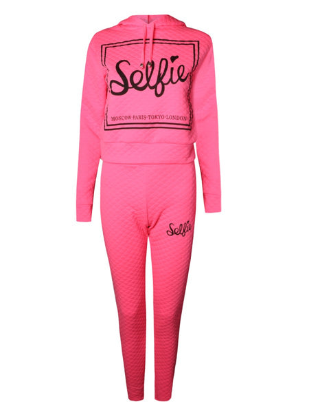 Quilted Hooded Selfie Print Tracksuit Lounge Wear Set