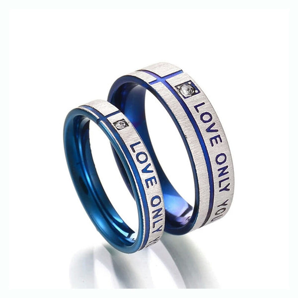 Blue & Silver Wedding  Ring