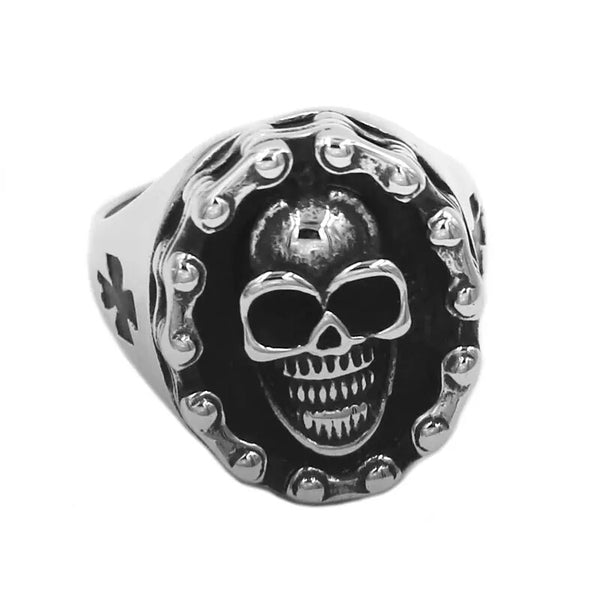 Motorcycle Chain Skull Ring