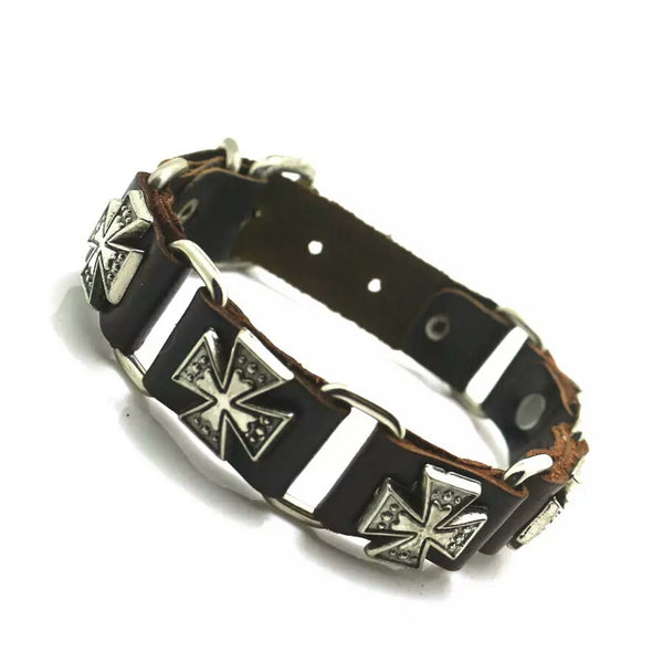 Iron Cross Leather Bracelet