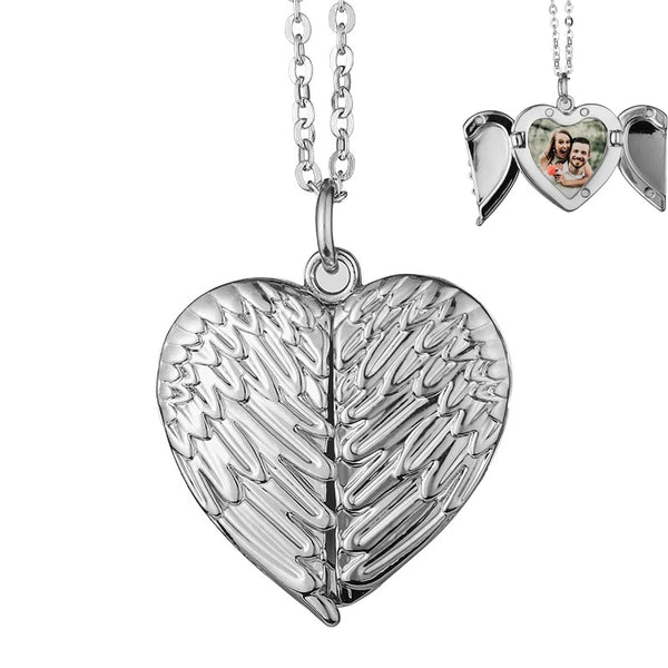 Angel  Wing Heart Locket Necklacke