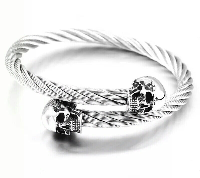 Wire Twisted Skull Heads Bangle