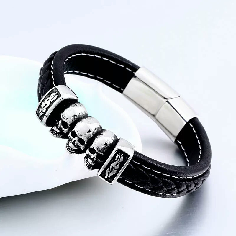 3 Skull Head Leather Bracelet