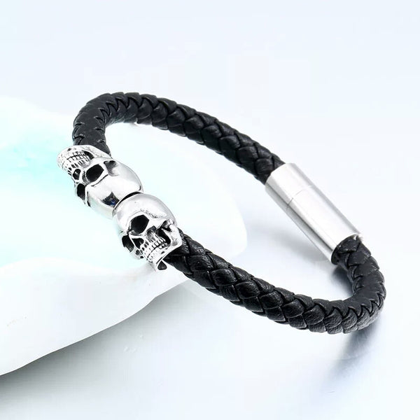 Small skull head Leather Bracelet