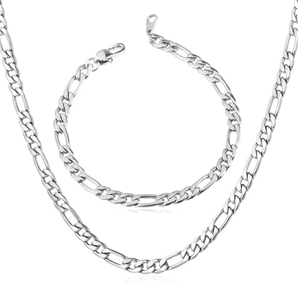 5mm Figaro Chain/Bracelet Set