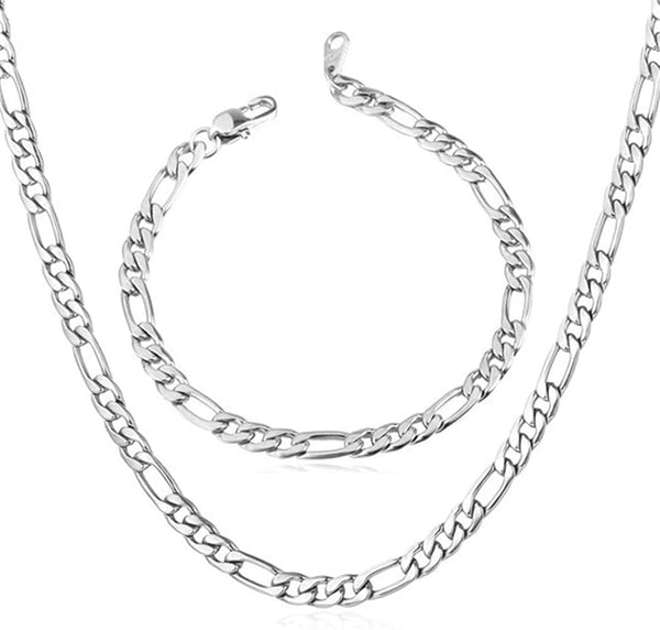 6mm Figaro Chain/Bracelet Set
