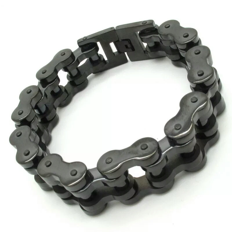 18mm Black Motorcycle Chain Bracelet