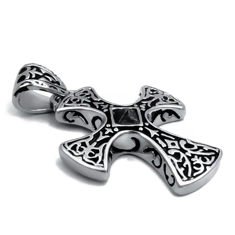 Cross with Black CZ