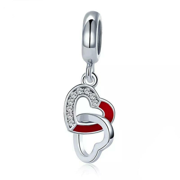Red Romantic Intertwined Heart Charm
